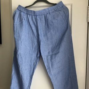 Joie chambray linen cropped pants, L